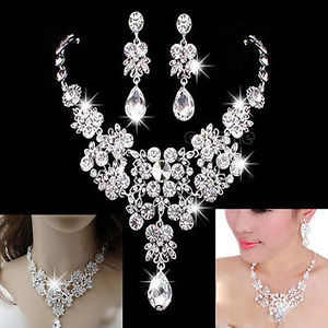 Alloy Rhinestone Earrings Crystal Pendant Necklace Bridal Jewelry Set