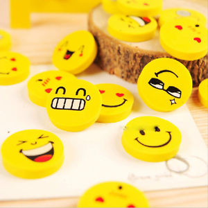 4Pcs Cartoon Faces Yellow Smile Rubber Eraser Student Stationery Articles Kids