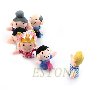 Alcoa Prime 6PCS Kids Baby Family Finger Puppets Plush Cloth Doll Play Game Learn Story Toys