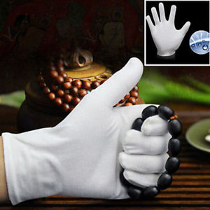 2pcs White Inspection Cotton Work Gloves Coin Jewelry Lightweight Free Size