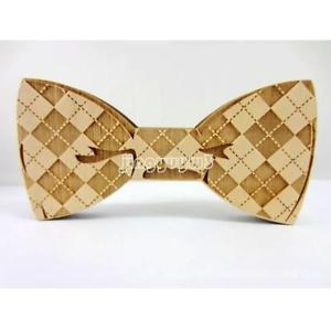 Natural Wooden Bow Tie Women Men Bowknot Wood Bowtie Wedding Party Present Gift