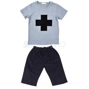 Alcoa Prime Fitted Boy's T-shirt + Pant Summer Thin Cotton Capri Pantaloons with Pockets