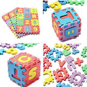 36pc Puzzle IQ Brain Toy Foam Floor Alphabet & Number Puzzle Mat For Kids EF