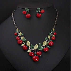 1 Set Fashion Red Cherry Jewelry Set Metal Bridal Necklace Earrings Chic BB