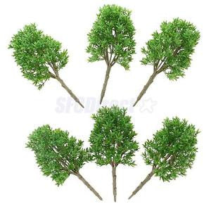 Alcoa Prime 6pcs Plastic 1:30 Scale DIY Model Trees Railway Street Building Architecture