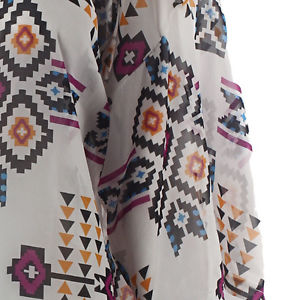 US Womens Geometry Printed Chiffon Shawl Kimono Cardigan Tops Cover up Blouse XL