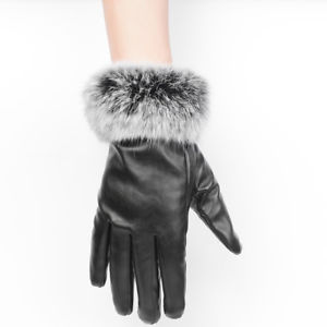 Alcoa Prime Women Black Leather Gloves Autumn Winter Warm Rabbit Fur Mittens Driving Gloves