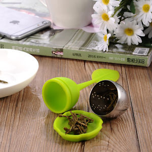 Stainless & Silicone Spice Filter Steel Leaf Tea Strainer Teaspoon Infuser Ball