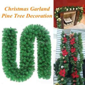 2.7M Long Christmas Garland Pine Wreath Thick Fireplace Cane Outdoor Decor Green