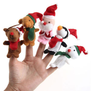 Alcoa Prime 5pcs Christmas Finger Puppet Cute Soft Cartoon Plush Toys Child Baby Dolls Gift#