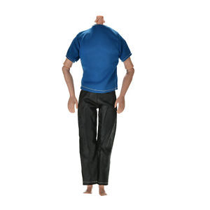 "Great Handmade Black Pants Blue T-Shirt for 11"" Barbies Ken Dolls LAJ"