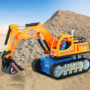 Full Functional Electric Excavator Tractor Light Sound Vehicle Kids Toys Gifts