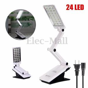 24 LED Foldable 360 Rotatable Rechargeable Reading Desk Table Clip-on Lamp Light