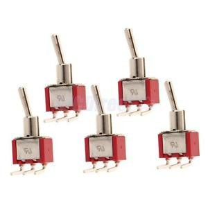 Alcoa Prime 5 x On/On Positively Curved Small Mini Toggle Switch Round Handle 3 Pin Red