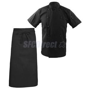 Alcoa Prime Unisex Chef Apparel Short Sleeve Button Coat Catering Jacket+Kitchen Apron M