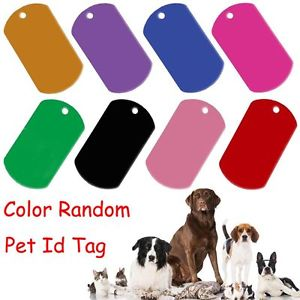 5 PCS Random Alloy Blank Anti-Lost Rectangle Shape Dog Name Pendant Pet ID Tag