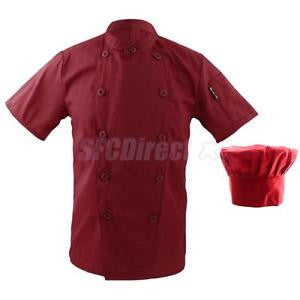 Alcoa Prime Men Women Double Breasted Sleeve Restaurant Cook Clothes Uniform+ Chef Hat