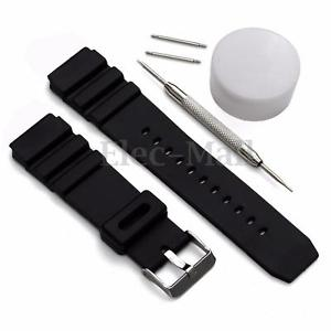 22mm Black Rubber Replacement Band Strap + Batch For Sports Marine Gear Watch