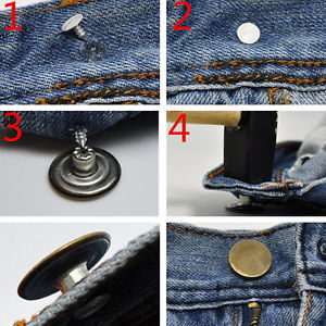 20pcs Blank NO SEW Replacement Metal Button 17mm For Jeans/Denim-shirts/Pants