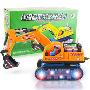 Electric Diecast Mobile Crane Excavator Model Toy Kids Gift With Music Light
