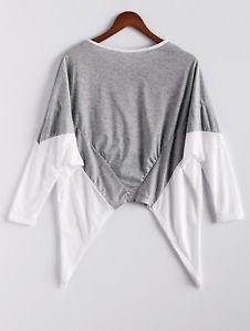 Fashion Women Irregular Hem Splicing Loose Blouse Long Sleeve Casual T-shirt Top
