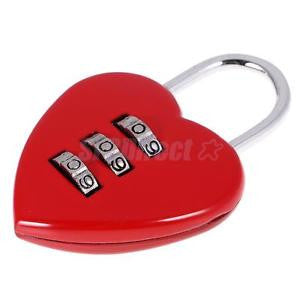 Alcoa Prime Love Heart Combination LOCK PADLOCK FOR LOCKER SCHOOL TRAVEL SUITCASE Red