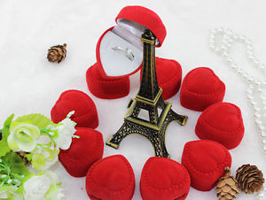 10pcs Romantic velet Red Heart Ring gift Boxes Jewelry Supplies EF