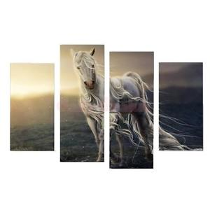 Alcoa Prime 4PC HD Canvas Print Set Home Decor Wall Art Painting Picture A Horse Noframe