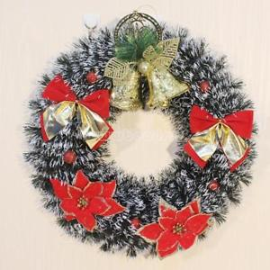 6x Christmas Wreath Decoration Plastic With Lace Jewelry Home Xmas Decor 430mm