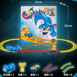 Alcoa Prime Kids Toy Beginners Electric Train Set with Cat And Mouse Game Two Type Track New