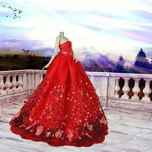 Handmade Red Lace Princess Wedding Evening Party Dress for Barbie Dolls Costume