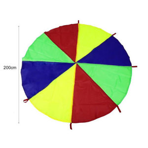 Children Play Rainbow Outdoor Game Exercise Sport 8 Handles Parachute Toy