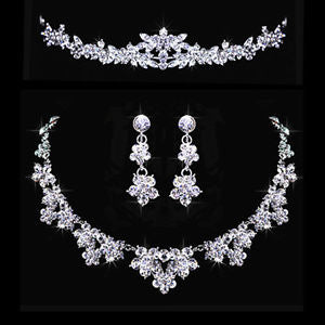Bridal Wedding Jewelry Rhinestone Crystal Topknot Tiara Necklace Earrings Set