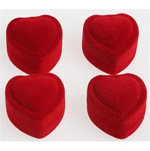 Quality 10pcs Romantic velet Red Heart Ring gift Boxes Jewelry Supplies U fo