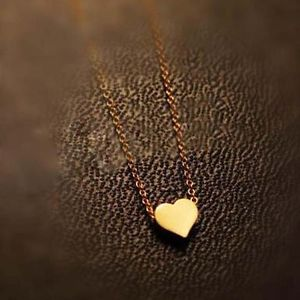 Hot Ladies Simple Design Exquisite Gold Color Chain Heart Love Pendant Neck