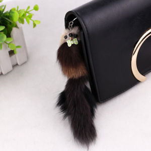 Alcoa Prime 1PC Novelty Artificial Fox Fur Pompon Squirrel Keychain Long Tail Keyring 20*5cm