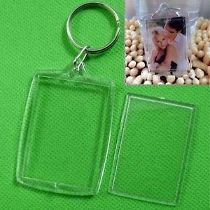 5X Clear Acrylic Blank Photo Picture Frame Key Ring Keychain Keyring Gift BBUS