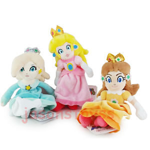 Alcoa Prime 3Pcs Super Mario Brothers 8'' Princess Peach & Rosalina & Daisy Plush Toy Doll