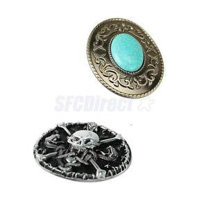 Alcoa Prime 2Pcs Vintage Classic Gothic Skull Boho Turquoise Oval Belt Buckle for Men