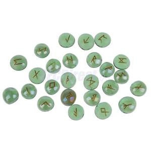 Alcoa Prime Green Runes Stones w/ Gold Runic Lettering Engraved Gifts Collectibles 25Pcs