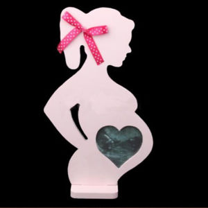 Alcoa Prime Pregnant Woman Shape Wooden Photo Frame Album Gift for Mother To Be Home Decor