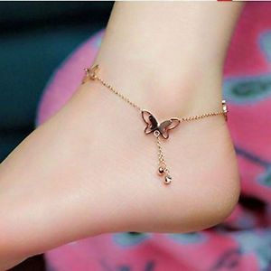 Alcoa Prime Fashion Women 18K Rose Gold Anklet Butterfly Ankle Chain Jewellery