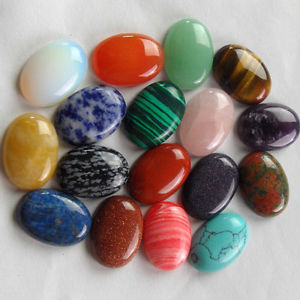 17pcs 25x18x6mm Charming mixed gemstone Oval CAB CABOCHON R013065