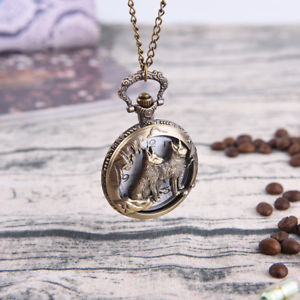1Pc Fashion Unisex Bronze Wolf Hollow Quartz Pocket Watch Necklace Pendant-Gifts