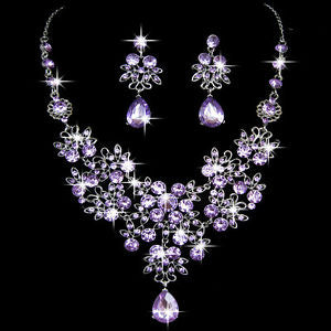 Wedding Party Prom Rhinestone Crystal Drop Pendant Necklace Earrings Jewelry Set