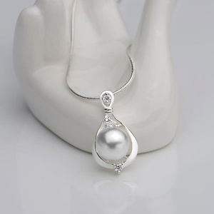 Round Cultured Pearl Pendant Silber Color Grading Alloy Necklace 2.5*1.4cm Pro