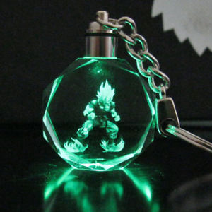 Dragon Ball Z Son Saiyajin Goku Glass LED Light Pendant Keyring Chain With Box