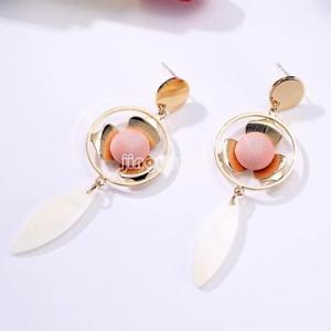 Beauiful Womens Shell Earring Brass Gold Plated White Shell Crystal Fashion Char