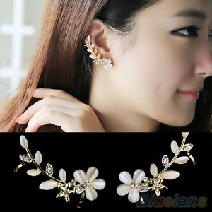 2 Pcs Lady Crystal Rhinestone Flower Cuff Ear Bone Clips Non-piercing Earrings