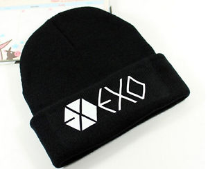 New Funny Unisex EXO Member knitted KPOP Winter Cap Hip-hop Cuff Beanie Hat GS